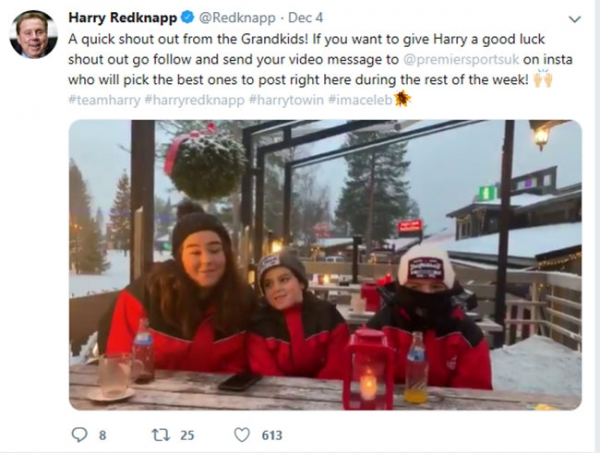 I'm A Celebrity's Harry Redknapp receives sweet message from his grandchildren